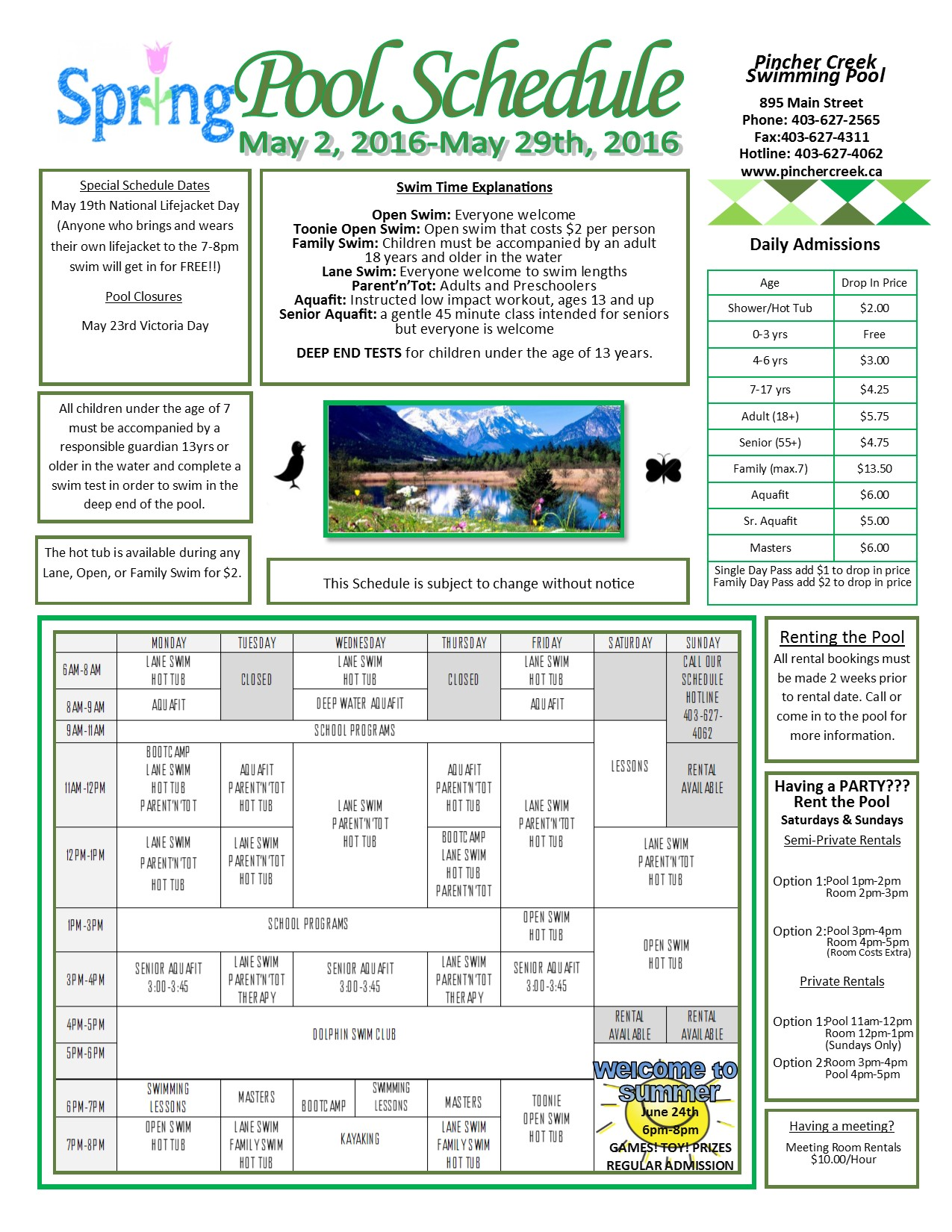 Town of pincher creek multi purpose facility pool for Pincher creek swimming pool schedule